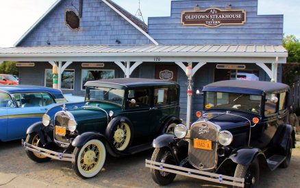 vintage cars outside of Old Town Steakhouse & Tavern