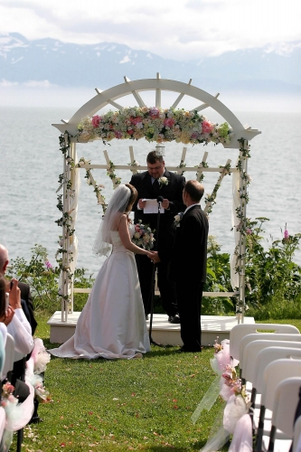Vows overlooking Bay