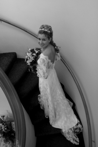 Bride in stairwell