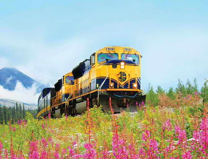 train riding through Alaska