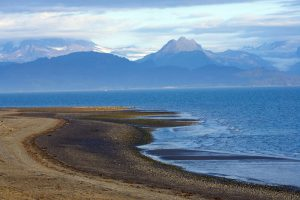View of beach, ocean, and mountains at Bishop's Beach in Homer, Alaska.