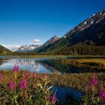 View of mountains and lake in Alaska