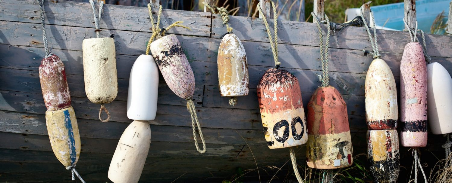Fishing buoys on dock