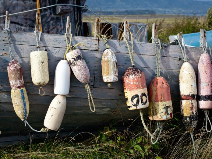 Fishing buoys on dock