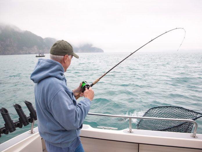 Man fishing on Kachemak Bay