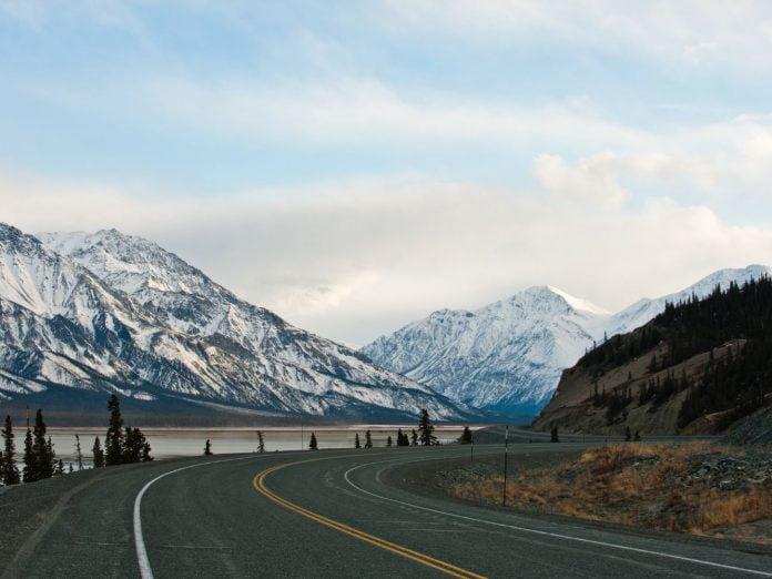View of a highway in Alaska.